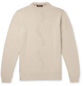 Loro Piana Cable-Knit Cashmere, Silk And Cotton-Blend Sweater