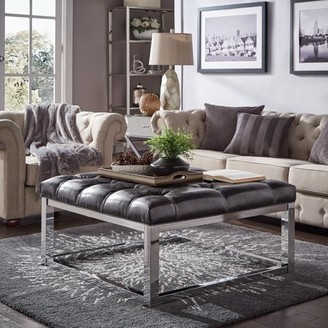 Weston Home Libby Button Tufted Cushion Ottoman Coffee Table with Chrome Metal Straight Base, Multiple Colors