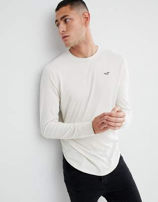 Hollister Seagull Logo Long Sleeve Top in Beige
