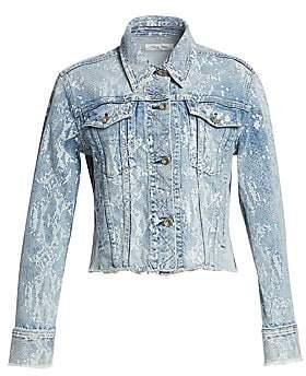 Rag & Bone Rag& Bone Rag& Bone Women's Cut-Off Python Print Denim Jacket