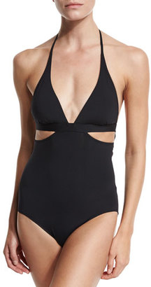 Seafolly Active Cutout Halter Maillot, Black $152 thestylecure.com