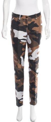Michael Kors Mid-Rise Camo Straight-Leg Pants