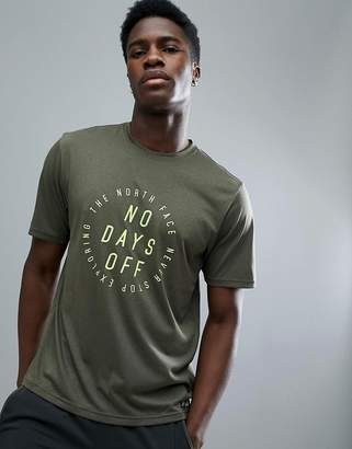 The North Face Mountain Athletics Running T-Shirt No Days Off Print In Green Marl