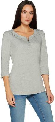 Factory Quacker 3/4 Sleeve Knit Top with Glam Zipper Detail