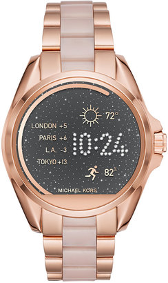 Michael Kors Women's Access Bradshaw Digital Rose Gold-Tone Stainless Steel and Blush Acetate Bracelet Smart Watch 44mm MKT5013 $375 thestylecure.com