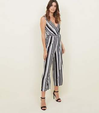dafda1d6501a New Look Tall Black Stripe Ribbed Culotte Jumpsuit