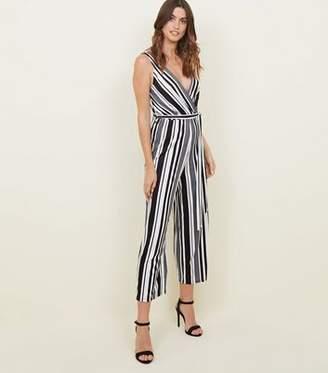 f0fec33fa530 New Look Tall Black Stripe Ribbed Culotte Jumpsuit