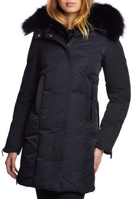 Dawn Levy Luna Fox-Trim Hooded Zip-Front Parka