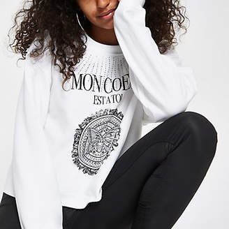 River Island Womens White diamante 'Mon Coeur' print sweatshirt