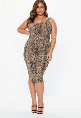 Missguided Plus Size Brown Snake Print Scoop Neck Midi Dress