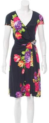 Blumarine Silk Floral Print Dress Black Silk Floral Print Dress