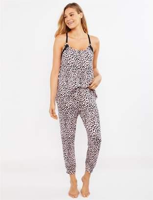 Motherhood Maternity Jessica Simpson Leopard Print Lace Trim Nursing Pajama Set