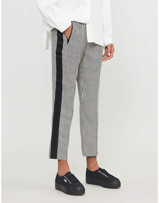E.m. ME AND Grosgrain-striped high-rise woven trousers