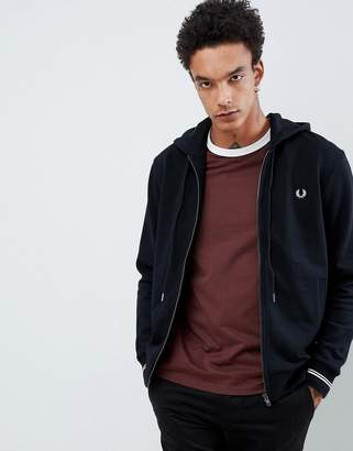 Fred Perry hooded zip thru sweat in black