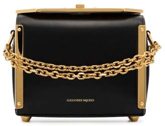 Alexander McQueen black Box large leather chain strap bag