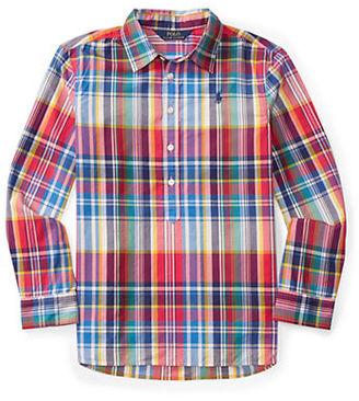 Ralph Lauren Childrenswear Girls 7-16 Plaid Poplin Button-Down Top $49.50 thestylecure.com