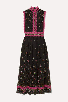 Costarellos Lace-trimmed Embroidered Silk-blend Tulle Midi Dress - Black
