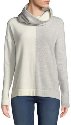 Neiman Marcus Cashmere Colorblock Sweater with Detachable Snood