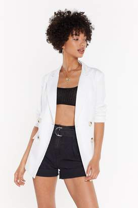 Nasty Gal Womens What A Great Square Check Blazer - White - 8, White