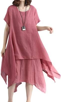 Zilcremo Women Summer Casual 2 Layers Cotton&Linen Asymmetric Maxi Dress Grey L