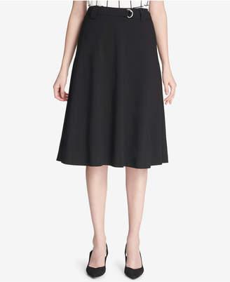 Calvin Klein Petite Belted A-Line Skirt