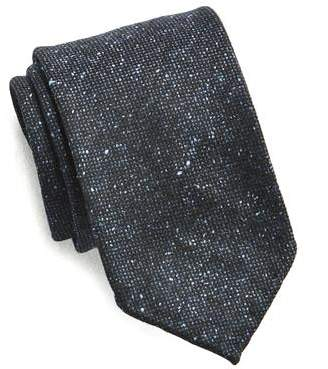 Drakes Drake's Navy Speckled Wool and Silk Tie
