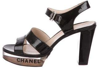 Chanel Logo Patent Leather Platform Sandals