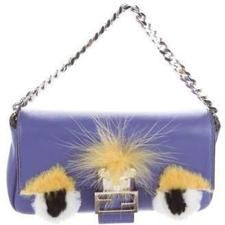 Fendi Fur-Trimmed Bag Bugs Micro Baguette