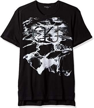 Calvin Klein Jeans Men's Short Sleeve Water Print CKJ Logo Long Hem T-Shirt