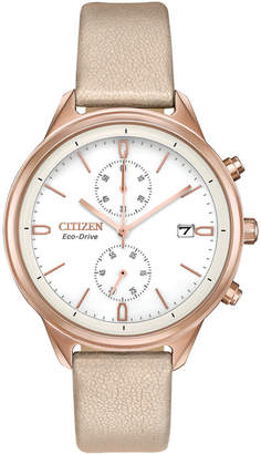 Citizen Eco-Drive Women Chronograph Chandler Pink Vegan Leather Strap Watch 39mm