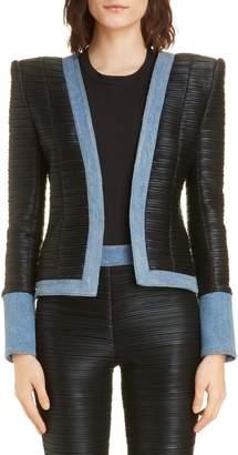 Balmain Denim Trim Plisse Jersey Jacket