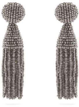 Oscar de la Renta Bead Embellished Tassel Drop Earrings - Womens - Silver