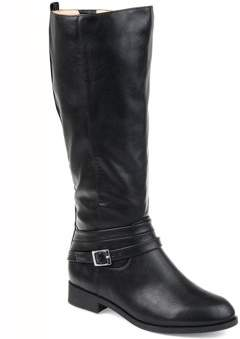 Brinley Co. Womens Comfort Extra Wide Calf Strap Riding Boot