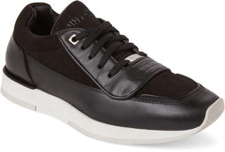 Jimmy Choo Black Jett Leather Low-Top Sneakers