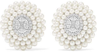 Amrapali 18-karat White Gold, Pearl And Diamond Earrings