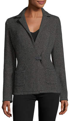 Loro Piana Giacca Herringbone Cashmere-Silk Sweater Jacket