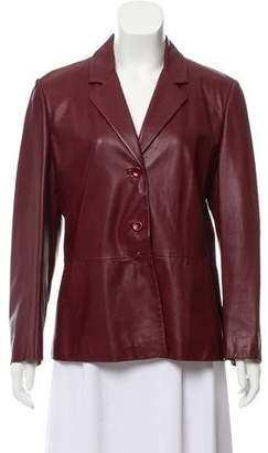 Max Mara Notch-Lapel Leather Jacket