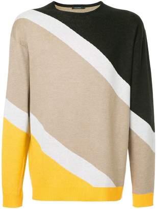 GUILD PRIME striped colour-block sweater