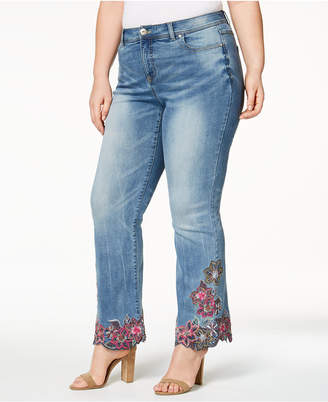INC International Concepts I.N.C. Plus Size Embroidered Bootcut Jeans, Created for Macy's