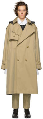 Juun.J Beige and Grey Long Trench Coat