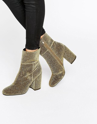 Steve Madden Goldie Gold Sock Heeled Ankle Boots
