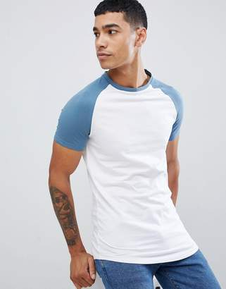 Asos DESIGN longline muscle raglan t-shirt with contrast sleeves with curved hem