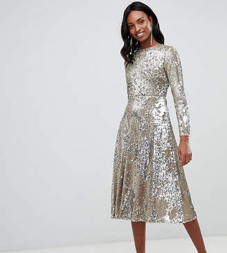 TFNC Tall long sleeve fit and flare sequin midi dress in gold