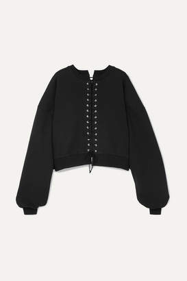 Unravel Project Cropped Lace-up Cotton-terry Sweatshirt - Black