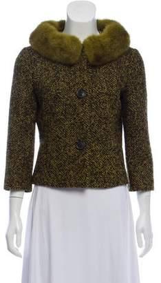 Michael Kors Mink Fur Trim Wool-Blend Jacket