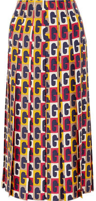 Gucci Pleated Printed Silk-twill Midi Skirt - Red