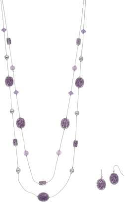 Purple Beaded Double Strand Necklace & Nickel Free Drop Earring Set