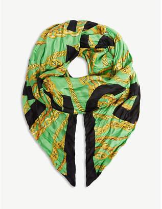 Balenciaga Logo chains silk scarf