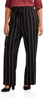Lifestyle Attitudes Women's Plus Wide Leg Multi Pin Stripe Pull On Fashion Career Pant