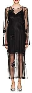 Helmut Lang Women's Floral-Tulle-Overlay Dress-Black